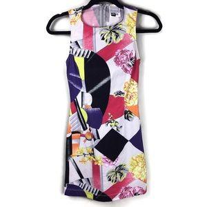 Versace Colorful Floral Geometric Sheath Dress